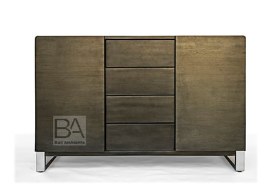 teak sideboard metalic finish and stainless steel legs