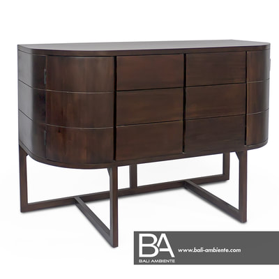 Mahogany sideboard with curved doors and drawers
