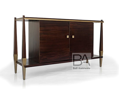 mahogany sideboard with brass accessories