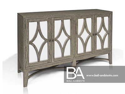 Teak Sideboard with mirror doors and grey glaze rustic frinish